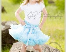 EXTRA Full PREMIUM light Baby Blue Pettiskirt, Petticoat, ruffle baby skirt, baby tutu, fancy girls tutu, Frozen Inspired, Photography Props