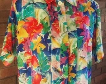 Vintage Blouse, Floral, Vintage Clothing