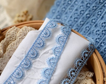 1/2 inch wide blue lace 1 yard and 22 inch cut