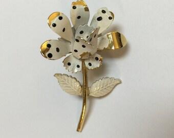 Vintage White Enamel Daisy Pin, 1960s Black and White Polka Dots Daisy Flower Brooch