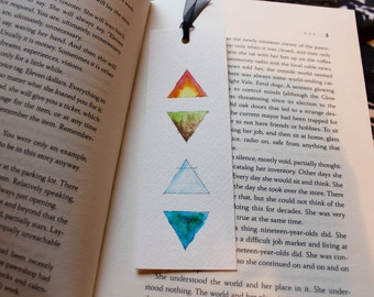 Handmade Watercolour Bookmark - Elements, Triangles, Fire, Earth, Air, Water, Gift