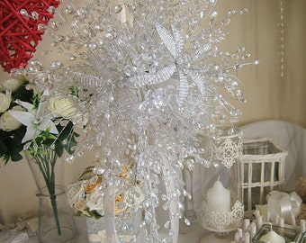 Stunning wedding flowers Brides teardrop shower all crystal bouquet