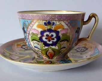 Beautiful Vintage Noritake Japanese Porcelain Cup and Saucer, Handpainted Enamels and Gilding, Noritake Cup and Saucer