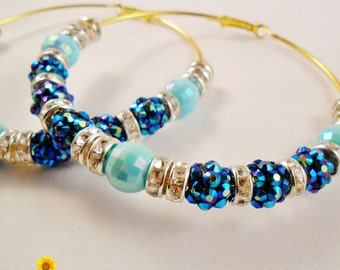 Big Bling Blue and Silver Hoop Earrings - 3in - Basketball Wives Style