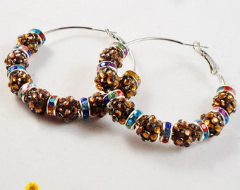 Spring Bling Brown and Multicolour Hoop Earrings - 2in - Basketball Wives Style