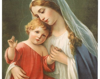 "Blessed Virgin Mary with Child Jesus Picture Print 8"" x 10"" Madonna and Child"