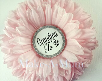 """PEONY PINK 5"""" Hand-dyed Baby Shower Pin corsage, Grandma To Be Pin, Girl baby shower,  Baby Shower, Mommy To Be Pin, pEONY PINK/gTB, pAPER"""