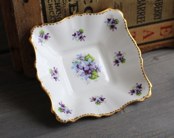 Small bowl square Royal Stafford Sweet Violet - Square dish vintage fine bone China - Square dish - Sweet violet, small porcelain bowl