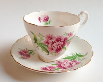 Pink tea Cup, Teacup with pink flowers, Staffordshire teacup, Bone China teacup, Vintage teacup, English Castle teacup, Teacup and saucer