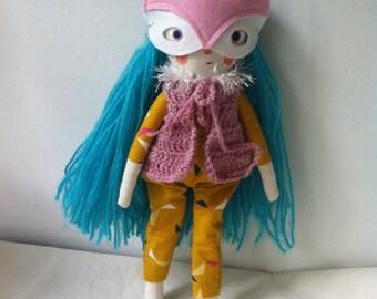 Little spirit folk art doll ' blue'