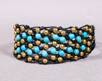 Beaded Bracelet- Turquoise and Gold Beads Mesh bracelet- Womens Bracelet- B-44