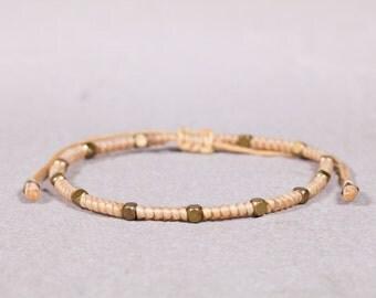 Peach Bracelet/Anklet, Brass Beads Bracelet, Beaded Bracelet, Beaded Anklet, Boho Jewelry B-36