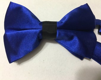 Royal Blue and black adjustable bow tie