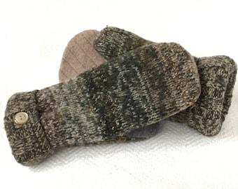 Wool Mittens; Felted Wool; Sweater Mittens; Women's Mittens; Fleece Lined Mittens; Camouflage; Recycled Sweater Mittens; Winter Mittens