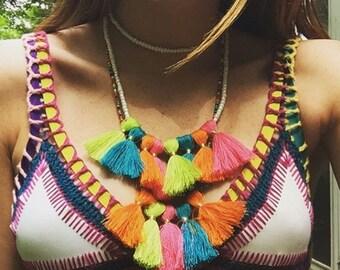 Rainbow Tassel Seed Bead 'Penelope' Necklace