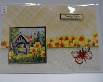 Daffodil and old Church Birthday card - card2card