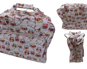 PVC Owls on a Branch Beige Sewing Machine Bag 20x43x37cm