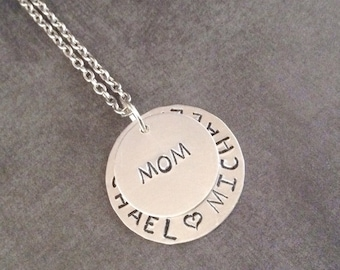 Mom Handstamped Necklace - Jewelry for Mom - Christmas gifts for Mom - Personalized xmas gifts for mom - Mom Christmas - Handstamped Jewelry