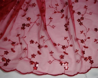 """Red Lace Net Fabric 1 yd long X 53"""" wide Perfect for sewing, crafting"""
