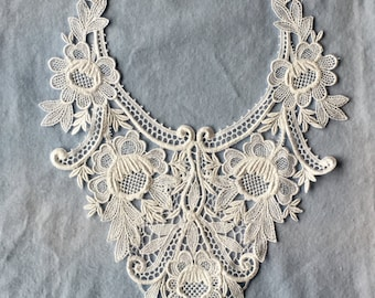 Vintage White Venise Lace Yoke Applique Crafting Sewing
