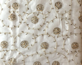 """Ivory silk organza bridal fabric, special occasion fabric embroidered with beads, metallic threads 27"""" long X 42"""" wide"""