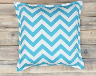 READY TO SHIP! Blue Zigzag Pillow with Cotton Cover 40x40 cm