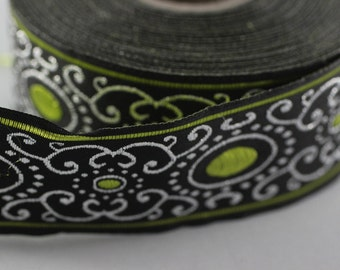22 mm green authentic Jacquard ribbon (0.86 inches) - woven ribbon, authentic ribbon - Sewing - Scroll Jacquard trim