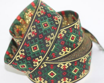 25 mm Green/gold  Snowy Jacquard trim (0.98 inches) - vintage Ribbon -  Decorative Craft Ribbon - Sewing - Jacquard ribbon - Trim