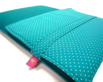 Laptop bag - Tabletsleeve with dots in turquoise by marengu
