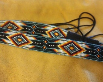 Beaded Hat band...Turquoise trails.