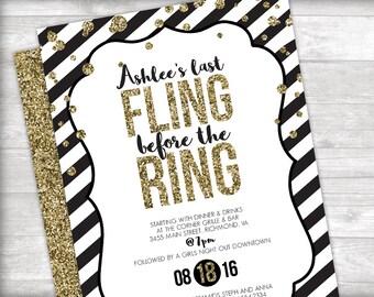 Gold Glitter Last Fling Bachelorette Party Invitation Printable