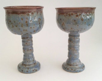 Pair of Unique Ceramic Goblets, chalice, cup with stem, wine glass, artisan, studio pottery, Ready to Ship