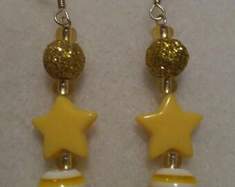 Yellow Star Dangle Earrings