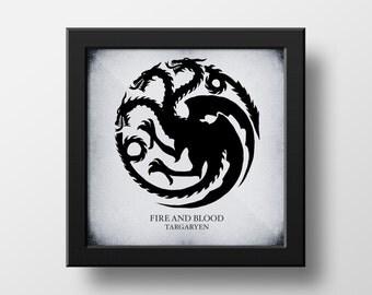 Game of Thrones Targaryen Black & White