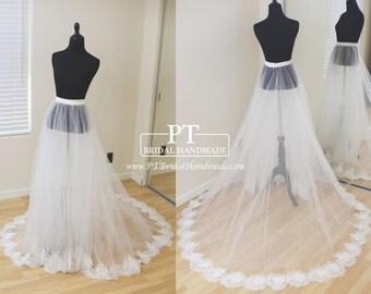 Detachable Bridal Skirt, Wedding Overskirt, Removable Tulle Skirt , Lace Removable Skirt, Custom Bridal Tulle Skirt