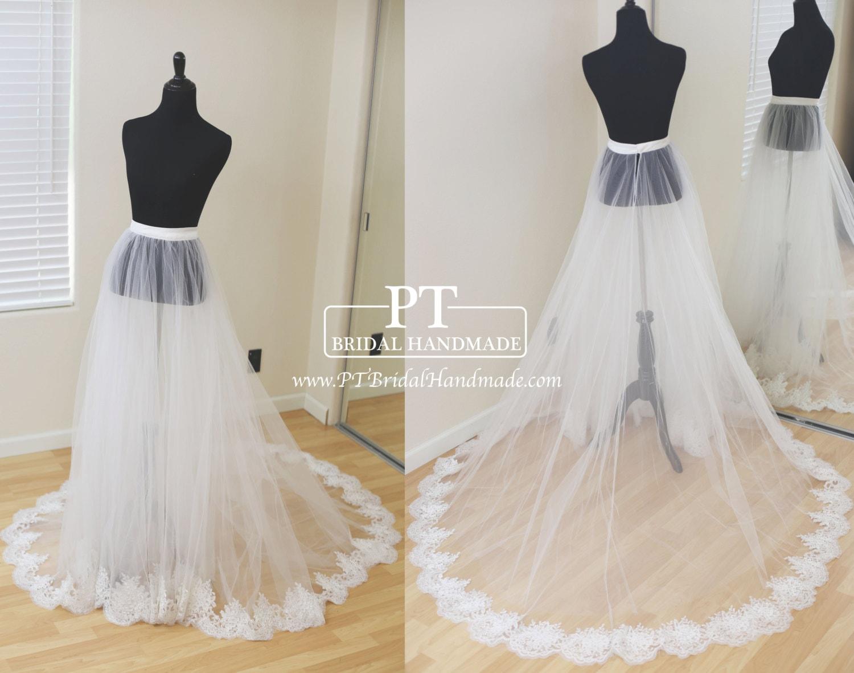 Detachable bridal skirt wedding overskirt removable tulle for Removable tulle skirt wedding dress