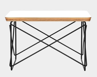 Eames LTR Style Side / Coffee Low Table Rod Base White Laminate Top Black Wire Base FREE Worldwide Shipping