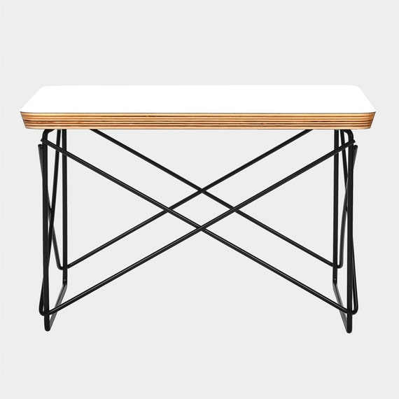 Eames ltr style side coffee low table rod base white for Eames style coffee table