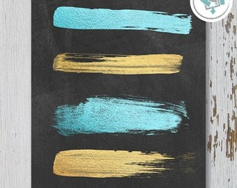 Printable Wall Art, Teal and Gold Strokes on Chalkboard, Size 8x10