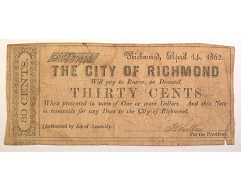 1862 City of Richmond, Virginia Currency