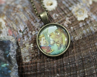 Alice with Lion, Vintage Alice in Wonderland, Handmade Round Glass Tile-in-Tray Pendant Necklace