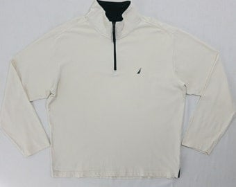 Nautica Shirt Nautica Long Sleeve Shirt 1/3 Zip Light Cream