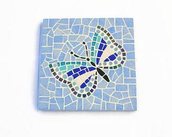 """Underside of flat blue mosaic """"Butterfly"""""""