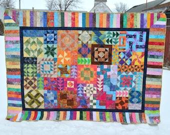 Colorful Batik Sampler Quilt