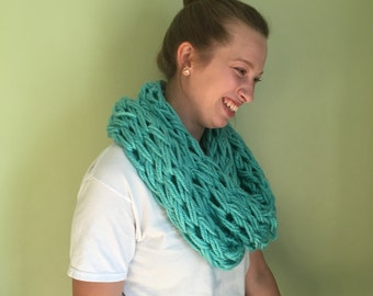 Bright Blue Hand-knit Chunky Scarf
