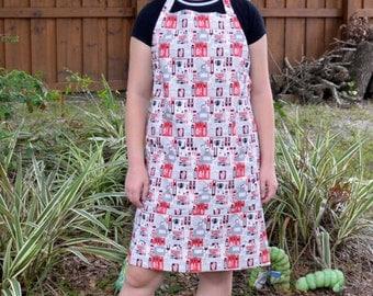 Size Large apron, oven mitt and 2 potholders, mens apron, bbq apron, kitchen apron, full apron