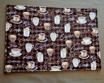 6 coffee placemats , reversible placemats, table linens, cloth placemats, washable placemats