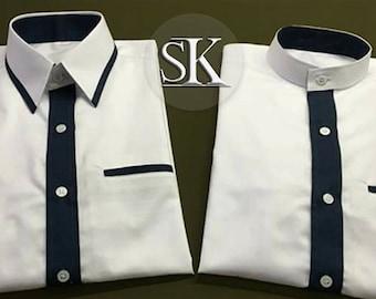 Shirts with black piping collar and mandarin collar