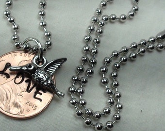 """Lucky Penny Necklace stamped """"LOVE"""" with hummingbird charm, lucky penny, good luck charm, love birds, necklace, coin jewelry, unique gifts"""