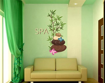 kcik1349 Full Color Wall decal stones flowers spa beauty salon